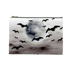 Bats On  The Moon Cosmetic Bag (large)