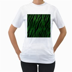 Skin3 Black Marble & Green Leather (r) Women s T Shirt (white) (two Sided)