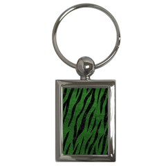 Skin3 Black Marble & Green Leather (r) Key Chains (rectangle)