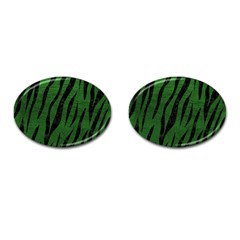 Skin3 Black Marble & Green Leather (r) Cufflinks (oval)