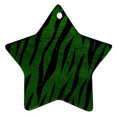 Skin3 Black Marble & Green Leather (r) Star Ornament (two Sides)