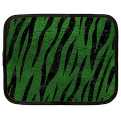 Skin3 Black Marble & Green Leather (r) Netbook Case (xl)