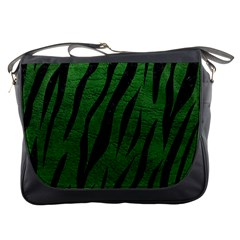 Skin3 Black Marble & Green Leather (r) Messenger Bags