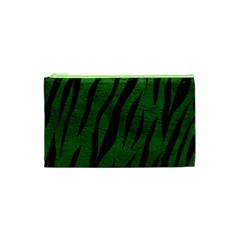 Skin3 Black Marble & Green Leather (r) Cosmetic Bag (xs)