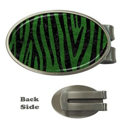 Skin4 Black Marble & Green Leather Money Clips (oval)