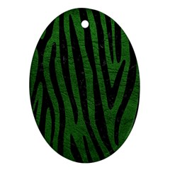 Skin4 Black Marble & Green Leather Oval Ornament (two Sides)