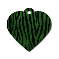 Skin4 Black Marble & Green Leather Dog Tag Heart (two Sides)