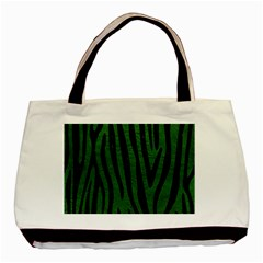 Skin4 Black Marble & Green Leather Basic Tote Bag (two Sides)