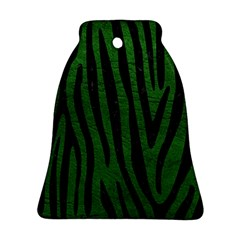 Skin4 Black Marble & Green Leather Bell Ornament (two Sides)
