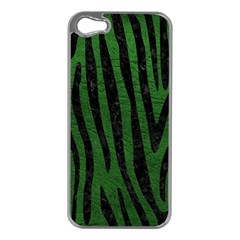 Skin4 Black Marble & Green Leather Apple Iphone 5 Case (silver)