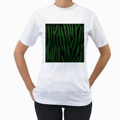 Skin4 Black Marble & Green Leather (r) Women s T Shirt (white) (two Sided)