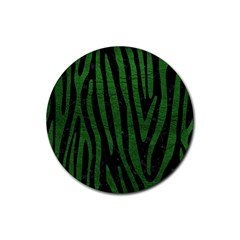 Skin4 Black Marble & Green Leather (r) Rubber Coaster (round)