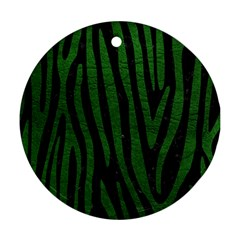 Skin4 Black Marble & Green Leather (r) Round Ornament (two Sides)