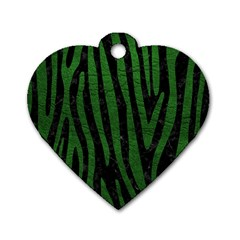 Skin4 Black Marble & Green Leather (r) Dog Tag Heart (two Sides)