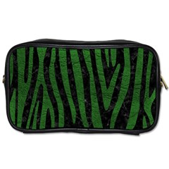 Skin4 Black Marble & Green Leather (r) Toiletries Bags 2 Side