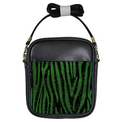 Skin4 Black Marble & Green Leather (r) Girls Sling Bags