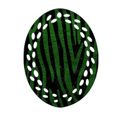Skin4 Black Marble & Green Leather (r) Oval Filigree Ornament (two Sides)