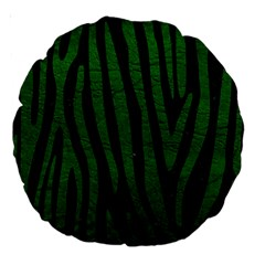 Skin4 Black Marble & Green Leather (r) Large 18  Premium Round Cushions