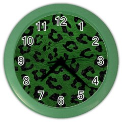 Skin5 Black Marble & Green Leather Color Wall Clocks