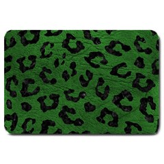 Skin5 Black Marble & Green Leather Large Doormat