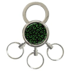 Skin5 Black Marble & Green Leather (r) 3 Ring Key Chains