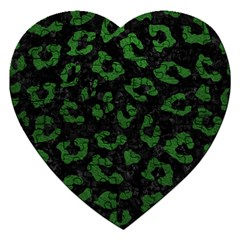 Skin5 Black Marble & Green Leather (r) Jigsaw Puzzle (heart)