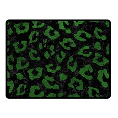 Skin5 Black Marble & Green Leather (r) Double Sided Fleece Blanket (small)