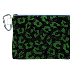Skin5 Black Marble & Green Leather (r) Canvas Cosmetic Bag (xxl)
