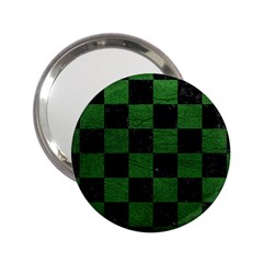 Square1 Black Marble & Green Leather 2 25  Handbag Mirrors