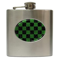 Square1 Black Marble & Green Leather Hip Flask (6 Oz)