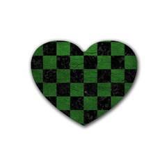 Square1 Black Marble & Green Leather Heart Coaster (4 Pack)