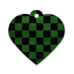 Square1 Black Marble & Green Leather Dog Tag Heart (one Side)