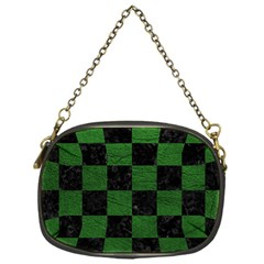 Square1 Black Marble & Green Leather Chain Purses (one Side)