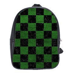 Square1 Black Marble & Green Leather School Bag (large)