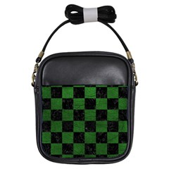 Square1 Black Marble & Green Leather Girls Sling Bags