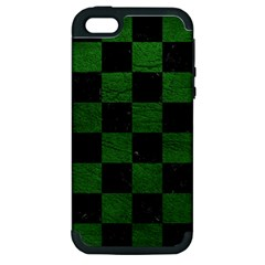 Square1 Black Marble & Green Leather Apple Iphone 5 Hardshell Case (pc+silicone)