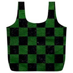 Square1 Black Marble & Green Leather Full Print Recycle Bags (l)