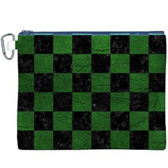 Square1 Black Marble & Green Leather Canvas Cosmetic Bag (xxxl)