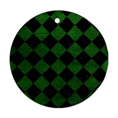Square2 Black Marble & Green Leather Ornament (round)