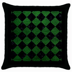 Square2 Black Marble & Green Leather Throw Pillow Case (black)