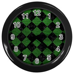Square2 Black Marble & Green Leather Wall Clocks (black)