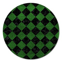 Square2 Black Marble & Green Leather Magnet 5  (round)
