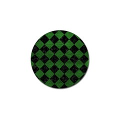 Square2 Black Marble & Green Leather Golf Ball Marker (10 Pack)