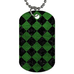 Square2 Black Marble & Green Leather Dog Tag (two Sides)