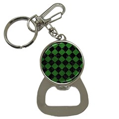Square2 Black Marble & Green Leather Button Necklaces