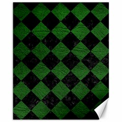 Square2 Black Marble & Green Leather Canvas 16  X 20