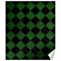 Square2 Black Marble & Green Leather Canvas 20  X 24