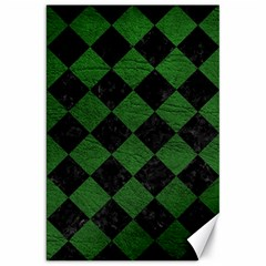 Square2 Black Marble & Green Leather Canvas 20  X 30