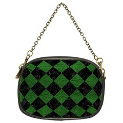 Square2 Black Marble & Green Leather Chain Purses (one Side)