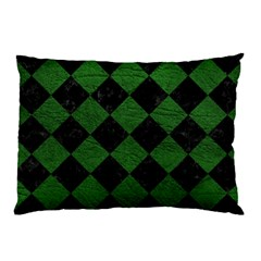 Square2 Black Marble & Green Leather Pillow Case
